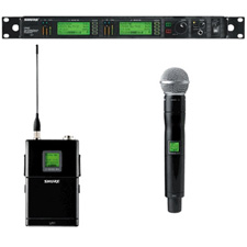 Shure Dual Channel UHF-R Wireless W/2 UR1 Bodypack Transmitters and 2 UR2/SM58