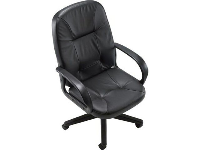 black high back leather media chair 16 20 inch seat height. Black Bedroom Furniture Sets. Home Design Ideas