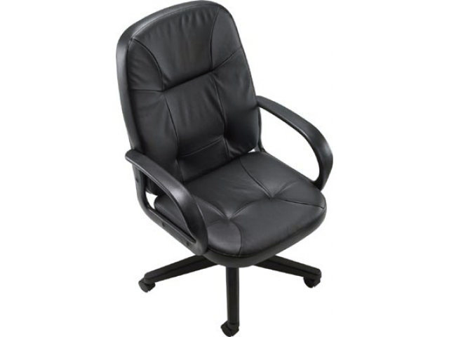 Black High Back Leather Media Chair 16 20 Inch Seat Height