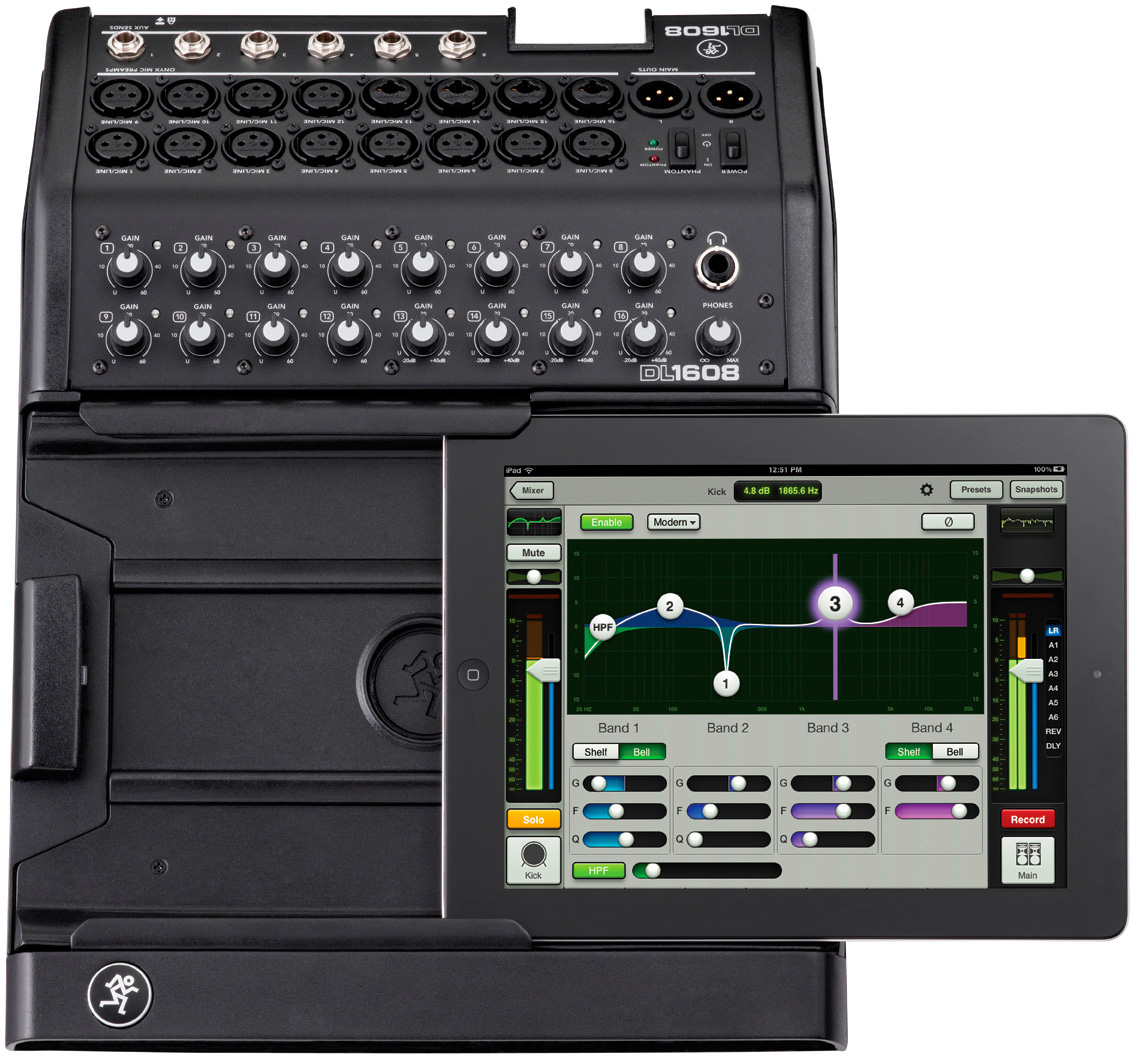 mackie dl1608l 16 channel digital live sound mixer with ipad control via lightning connector