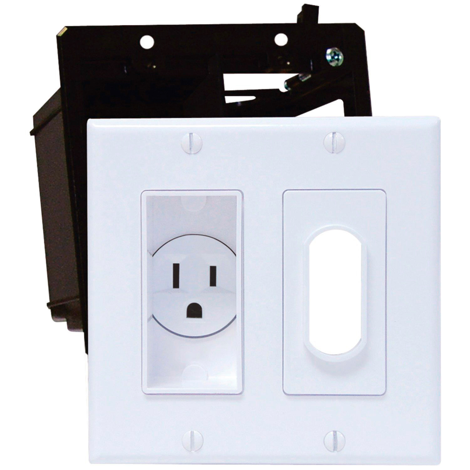Double gang decor recessed receptacle hdtv plate kit ivory for Decor ingang