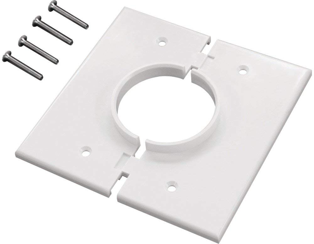 Round Plate Cable Pass Through : Double gang white split port cable pass through plate