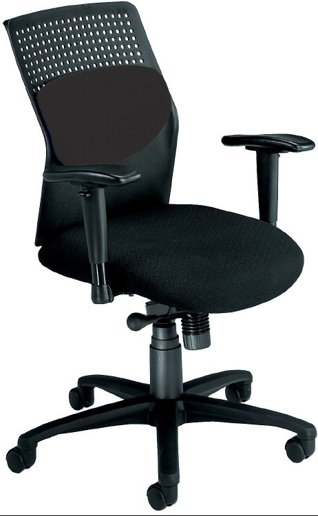 AirFlo Rolling Desk Chair With Black Fabric Seat And Adjustable Arms