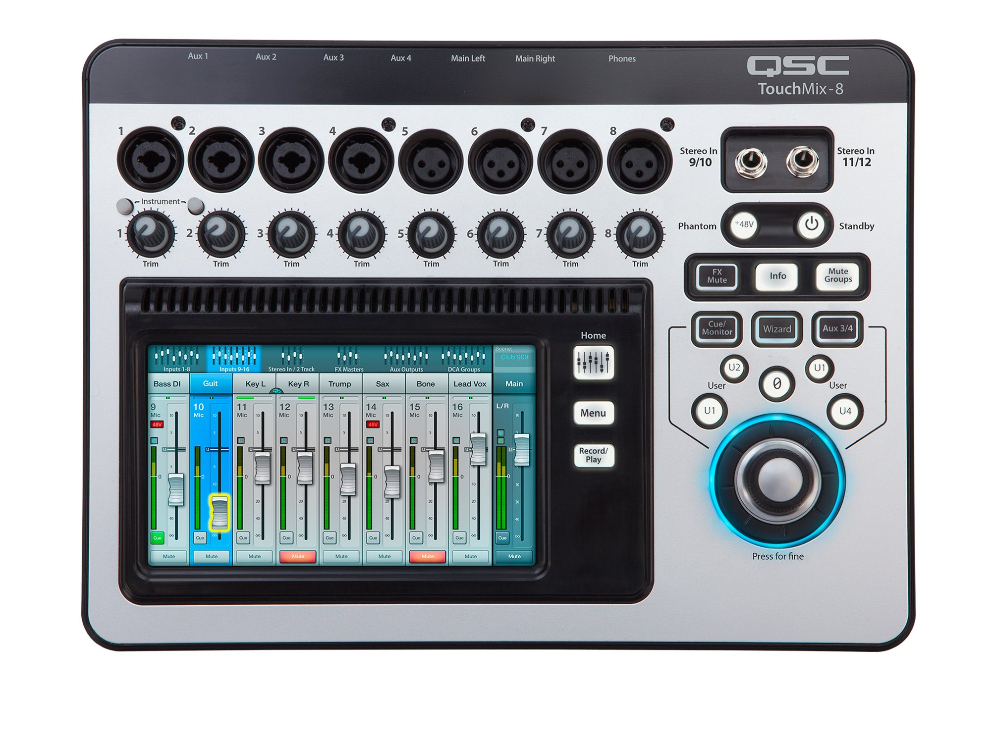 qsc touchmix 8 12 channel digital audio mixer with 4 mic 4 mic line inputs. Black Bedroom Furniture Sets. Home Design Ideas