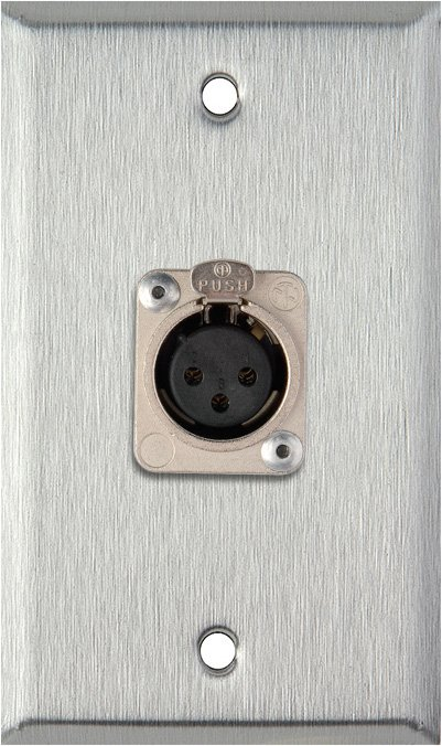 1 Gang Stainless Steel Wall Plate W 1 Neutrik 3 Pin Xlr F