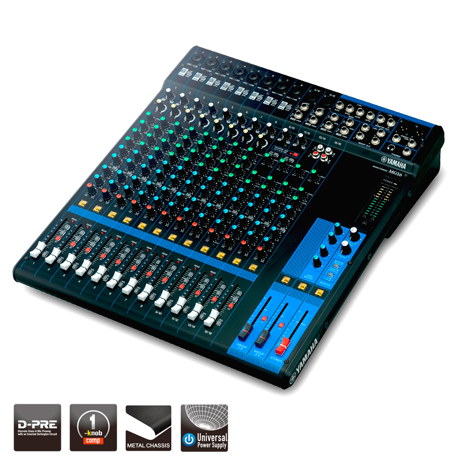 yamaha mg16xu 16 channel mixing console 10 mic 16 line inputs. Black Bedroom Furniture Sets. Home Design Ideas