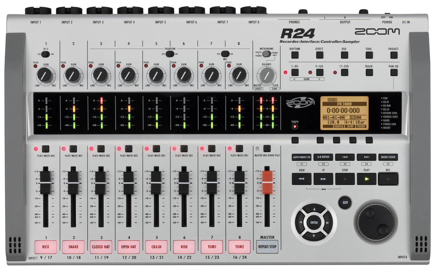 zoom r24 24 track sd digital multi track recorder controller sampler. Black Bedroom Furniture Sets. Home Design Ideas