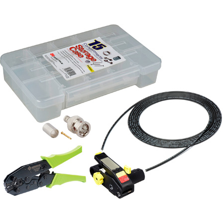 12G BNC Cable Making Kit with 20 Amphenol BNCs & 100 Foot Belden 4855R Mini-RG59 - Crimper & Stripper Included