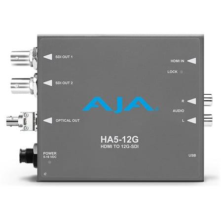 AJA HA5-12G-T-ST HDMI 2.0 to 12G-SDI Mini-Converter with Single Channel Fiber 12G ST Transmitter