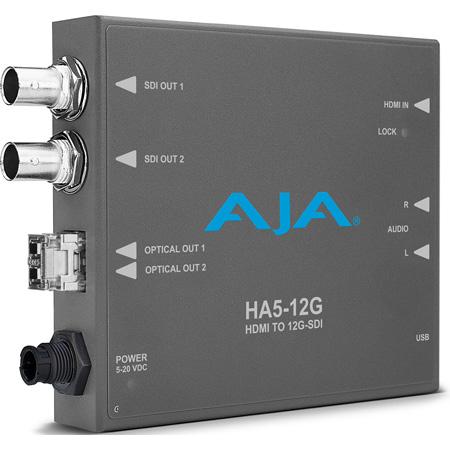AJA HA5-12G-T HDMI 2.0 to 12G-SDI Mini-Converter with Single Channel Fiber 12G LC Transmitter