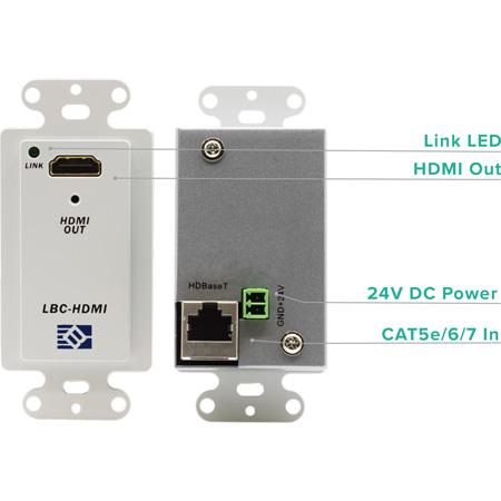 Broadata Link Bridge LBC-H-R-WP HDBaseT- HDMI Wallplate Receiver with PoC (Up to 70m)