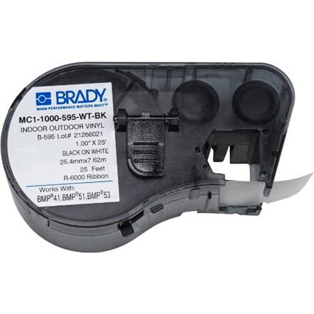 Brady MC-1500-595-WT-BK BMP51/BMP53 Label Maker Cartridge -Black on White