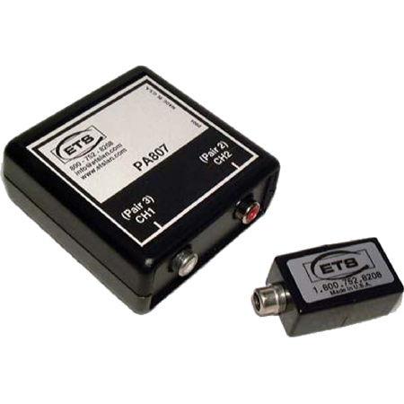 ETS PA807 Line Level Analog Stereo Audio Balun RCA Female to RJ45