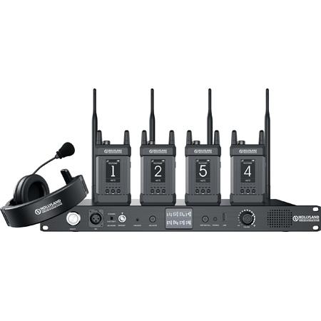 Hollyland SYSCOM 1000T-4B 1000 Foot Full Duplex Wireless Intercom System with 4 Belt Packs