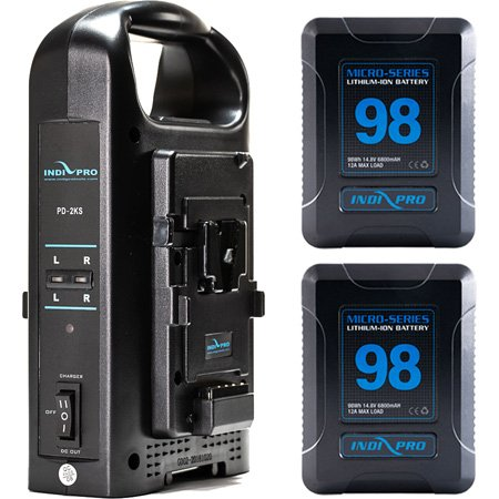 IndiPro 2PSKTDC 2x Micro-Series 98Wh Li-Ion V-Mount Batteries and Dual V-Mount Battery Charger Kit
