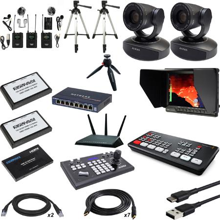 Blackmagic Design ATEM Mini HDMI Live Production Switcher Kit with AViPAS AV-1081 PTZ Cameras and Bescor Tripods