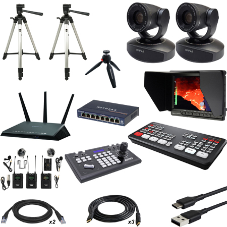 Blackmagic Design ATEM Mini Pro Live Production HDMI Switcher Kit with AViPAS AV-1081 PTZ Cameras and Bescor Tripods