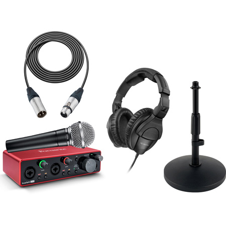 Focusrite Scarlett 2i2 USB Audio Interface Podcast Kit with Shure SM58 Vocal Mic and Sennheiser HD-280 PRO Headphones