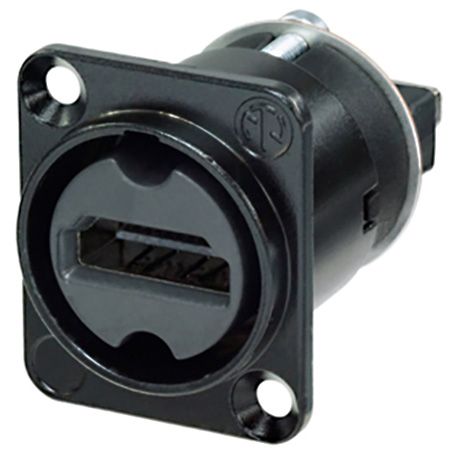 Neutrik NAHDMI-W-B HDMI 2.0 Feedthrough Adaptor - IP65 Rated -  D-Shape - Black