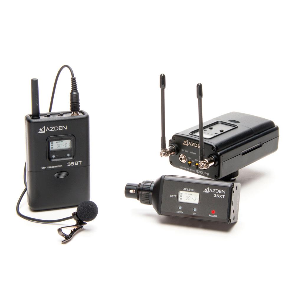 azden 330lx lavalier mic xlr plug in camera mount dual wireless mic system. Black Bedroom Furniture Sets. Home Design Ideas