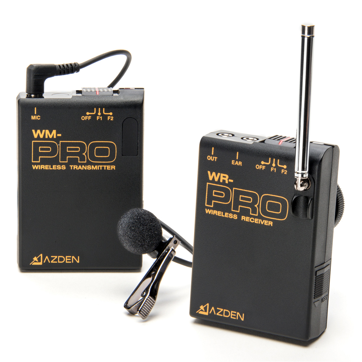 azden wlx pro plus i vhf wireless lavalier microphone system for cameras mobile devices f1 f2. Black Bedroom Furniture Sets. Home Design Ideas