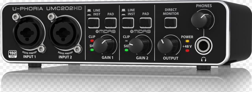 behringer umc202hd audiophile 2x2 24 bit 192 khz usb audio interface with midas mic preamps. Black Bedroom Furniture Sets. Home Design Ideas