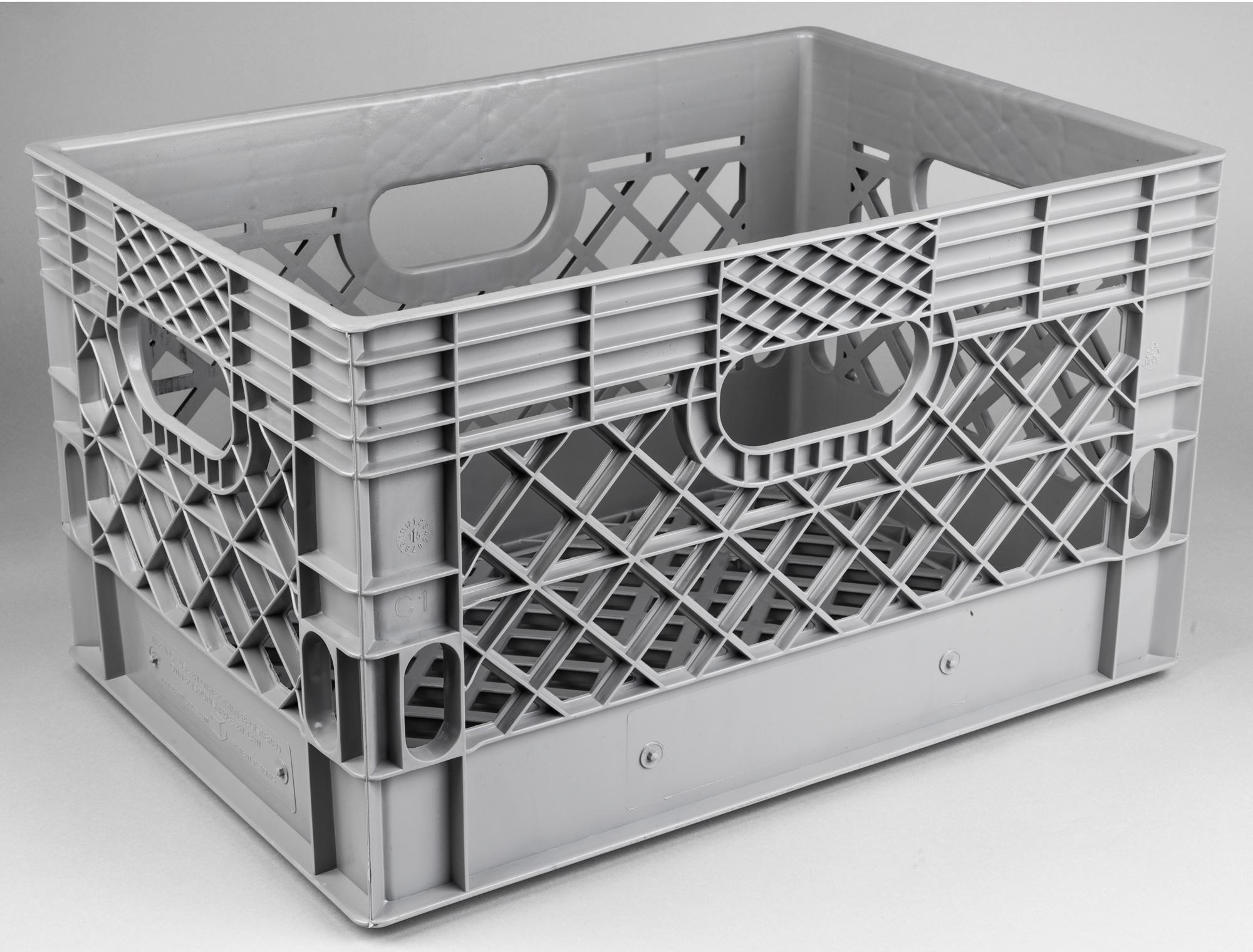 24 Quart Grey Plastic Milk Crate Gray