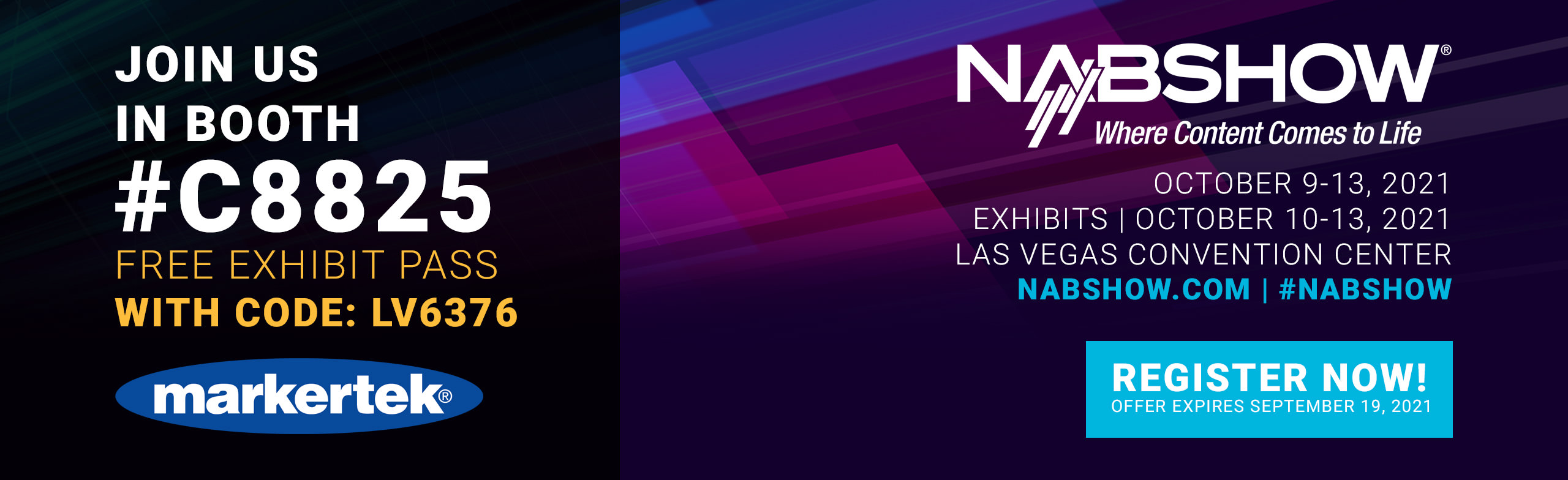 join markertek and get a free pass to nab 2021