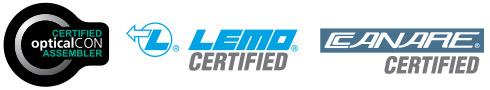opticalCon, LEMO, CANARE certified assembler