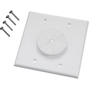 Midlite 2GWH-GR2 2 GANG Wireport Wall Plate with Grommet- White