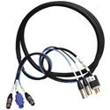 Neutrik NAC3FCA-15A/125V Edison Male and 2 NC3FXX to 2 NC3MXX 10 Ft.