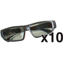 Airflex 5D ZAF-GL10 Linear Polarized Glasses for LCD projectors - 10 Pack