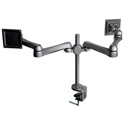 2 LCD Flat Panel Monitor Holder w/Vesa Plate & Table Clamp - Black