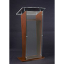 Amplivox SN3500-WT Medium Walnut & Clear Acrylic Panel Floor Lectern w/ Shelf