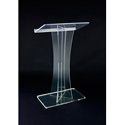 Amplivox SN3520 Clear Acrylic Floor Lectern X Style with Shelf