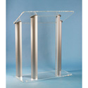 Amplivox SN3525 4 Post Contemporary Clear Acrylic and Aluminum Floor Lectern