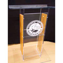 Amplivox SN3540-MO Clear Acrylic and Medium Oak Panel Lectern H Style with Shelf