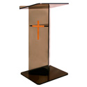 Amplivox SN3545-MO Smoke Acrylic and Medium Oak Panel Lectern V Style with Shelf