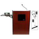 Amplivox SW3235-MH Multimedia Presentation Podium - Wireless Sound- Mahogany
