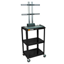 Luxor AVJ42-LCD Adjustable Height TV Cart w/LCD Mount 24Wx18Dx42H - Black