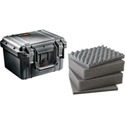 Pelican 1300 Case With Foam 10.75inL x 9.75inW x 7inD- Black