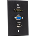 TecNec Board Room Series 1 Gang Black Anodized Wall Plate w/ HDMI/ VGA & Mini