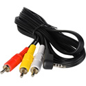 TecNec 3.5mm TRRS to RCA Composite & Stereo Audio Camcorder Cable 5 Ft