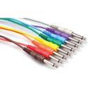 Patchbay Cables 1/4 In. TS to 1/4 In. TS 1 Ft 8-Cable Patch Cord Pack
