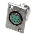 Switchcraft D6F Female 6-Pin Rectangular Metal Shell XLR Chassis Mount