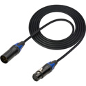DMX Lighting Control Cable 5pin M to F Black 3 ft.