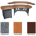 Mid-Atlantic 60 Inch Desk w/Overbridge & Single Bay Rack Dark Cherry
