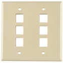 Six Port Dual Gang Flushmount Faceplate Ivory