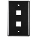 Two Port Flushmount Faceplate Black