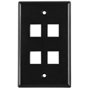 Four Port Flushmount Keystone Faceplate Black